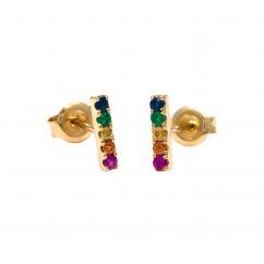 14k Yellow Gold and Multi Gemstone Rainbow Stud Earrings