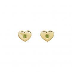 14k Yellow Gold and Peridot Heart Studs