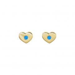 14k Yellow Gold and Aquamarine Heart Studs