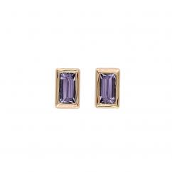 14k Rose Gold and Amethyst Baguette Stud Earrings