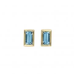 14k Gold and Baguette Aquamarine Stud Earrings