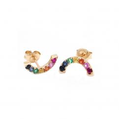 14k Yellow Gold and Rainbow Gemstone Earrings