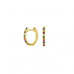 14k Yellow Gold and Rainbow Gemstone Hoop Earrings