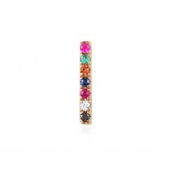 14k Rose Gold Rainbow Gemstone Mini Stud Earring
