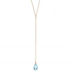 Calypso 14k Gold and Blue Topaz Y Drop Necklace