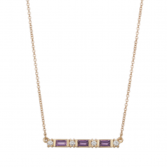 14k Gold Amethyst and Diamond Birthstone Pendant