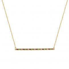 14k Yellow Gold Rainbow Bar Necklace