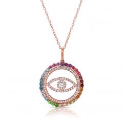 14k Rose Gold and Rainbow Evil Eye Pendant