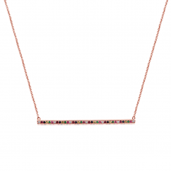 14k Rose Gold Rainbow Gemstone Necklace
