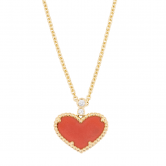 1970's 18k Gold and Heart Shape Coral Pendant