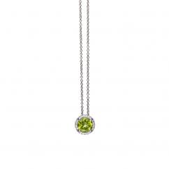 Lisette 18k Gold Peridot and Diamond Pendant