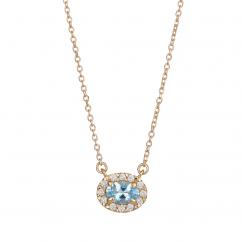 14k Gold and Aquamarine Birthstone Pendant