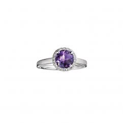 Lisette 18k Gold Amethyst and Diamond Ring
