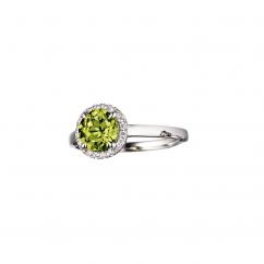 Lisette 18k Gold Peridot and Diamond Ring