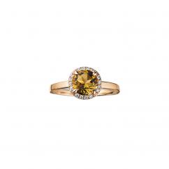Lisette 18k Gold Smoky Quartz and Diamond Ring