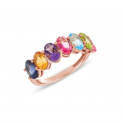 14k Rose Gold Rainbow Mixed Gemstone Ring