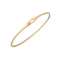 Dinh Van Serrure Jonc 18k Yellow Gold and Diamond Bracelet