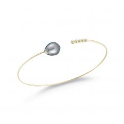 Mizuki 14k Gold and Tahitian Pearl Cuff Bracelet