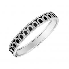 L'Arc de DAVIDOR Bangle, 18k White Gold with Lacquer and Diamonds