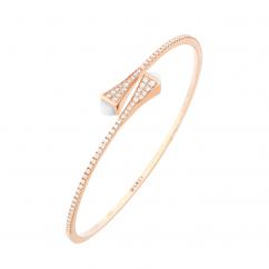 Marli Cleo 18k Gold and White Agate Bracelet