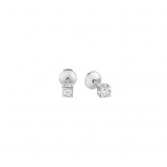 Dinh Van Le Cube 18k White Gold and Diamond Earrings