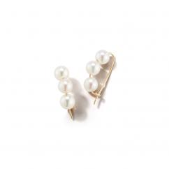 Mizuki 14k Gold and Pearl Wire Earrings