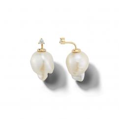Mizuki 14k Gold and Baroque Pearl Earrings