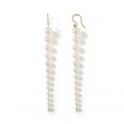 Mizuki 14k Gold and Graduating Pearl Shoulder Duster Earrings