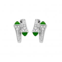 Marli Cleo 18k Gold and Green Jade Earrings