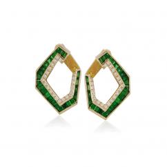 Kavant and Sharart Origami 18k Yellow Gold and Tsavorite Earrings