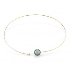 Mizuki 14k Gold and Tahitian Collar Necklace