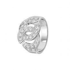 Dinh Van 18k White Gold and DIamond Menottes Ring
