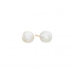 14k 3mm Pearl Birthstone June Stud Earrings