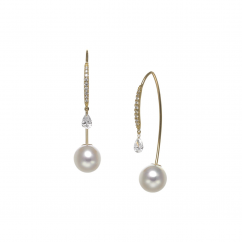 18k Yellow Gold and Pearl Back to Front Earrings