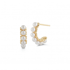 Barbela Design 14k Gold and Pearl Hoops