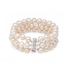 Triple Row Freshwater Pearl Bracelet