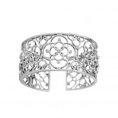 Arabesque Sterling Silver Wide Openwork Diamond Bracelet
