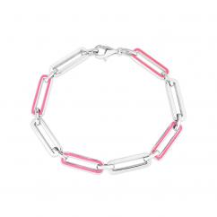 Sterling Silver and Pink Enamel Paperclip Bracelet