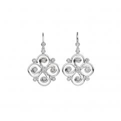Arabesque Sterling Silver and Diamond Swirl Earrings