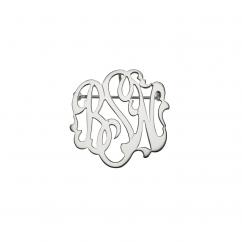 Monogram Script Sterling Silver Pin