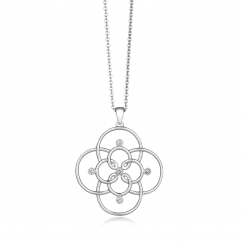 Arabesque Sterling Silver and Diamond Openwork Pendant