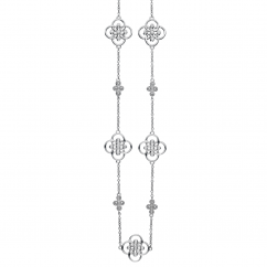 Arabesque Sterling Silver and Diamond Station Necklace