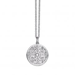 Arabesque Sterling Silver and Diamond Locket