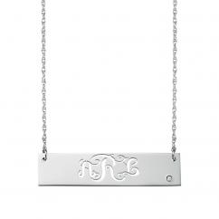 Sterling Silver Script Monogram ID Bar Pendant
