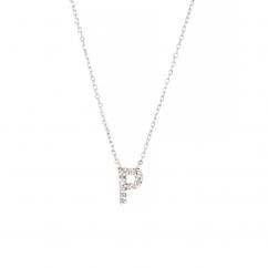 Sterling Silver and Diamond Mini Initial P Pendant