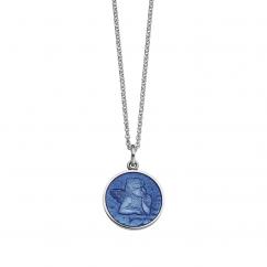 Guardian Angel Small French Blue Enamel Pendant