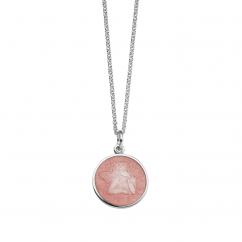 Guardian Angel Small Pink Enamel Pendant