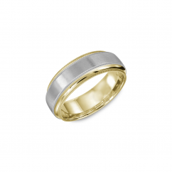 14k White and Yellow Gold 7mm Wedding Band