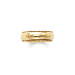 14k Yellow Gold 6mm Milgrain Comfort Fit Wedding Band