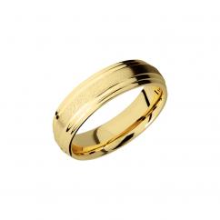 14k Yellow Gold 6mm Angle Stone Texture Wedding Band